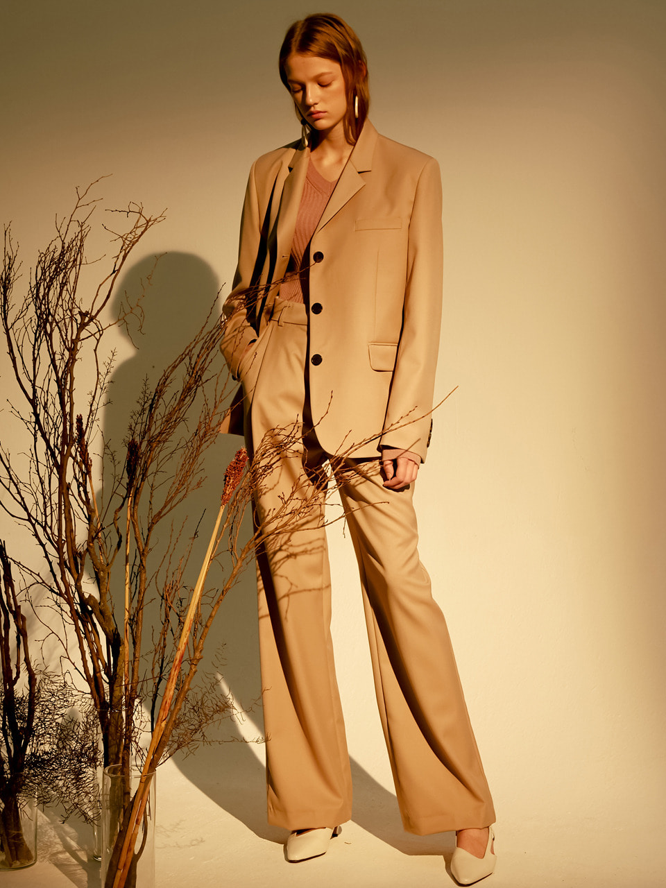 [set] single button jacket (beige)+18fall comos slacks (beige)