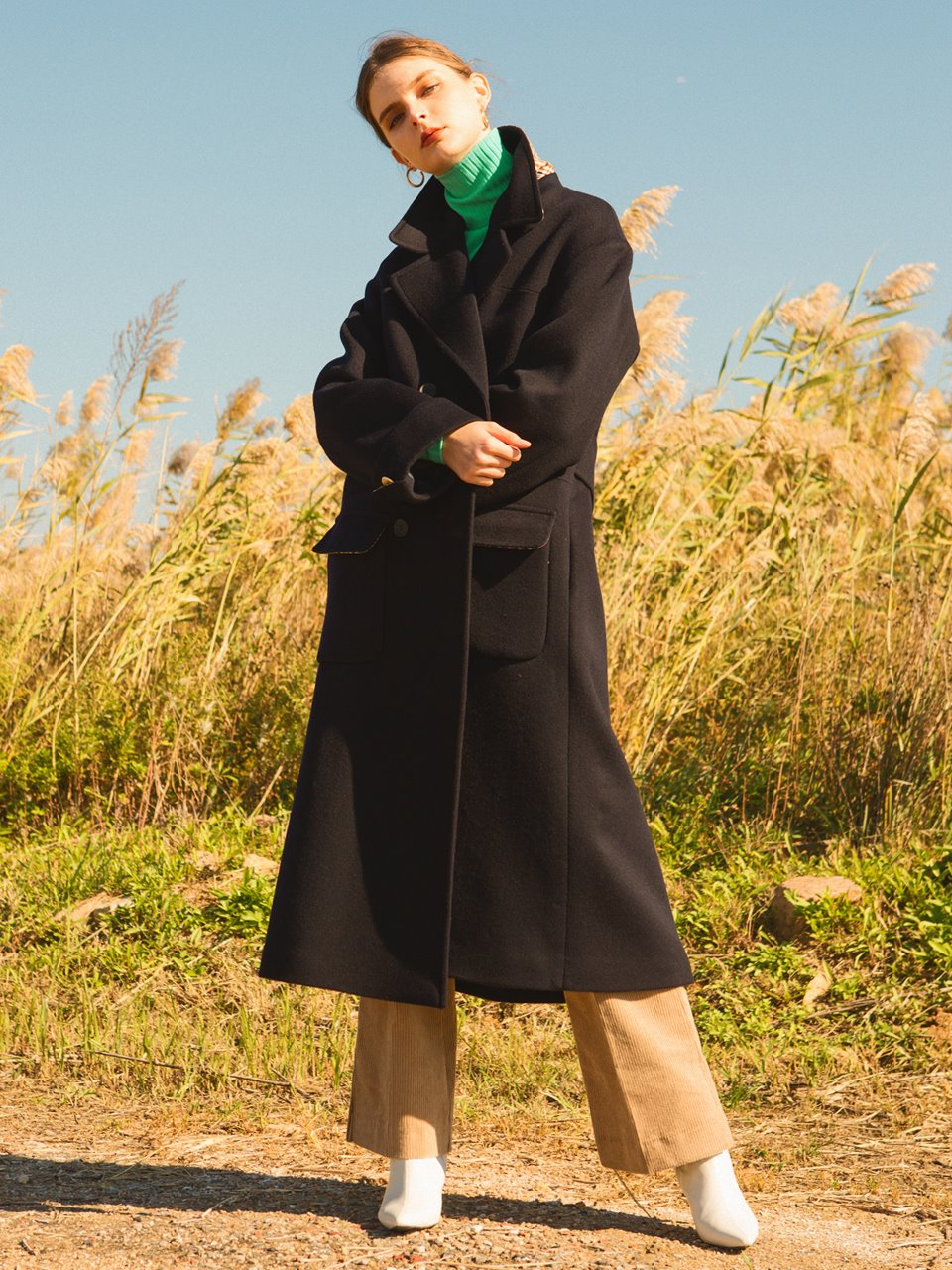 (울90%)comos'91 wool90% a-line long coat (navy)
