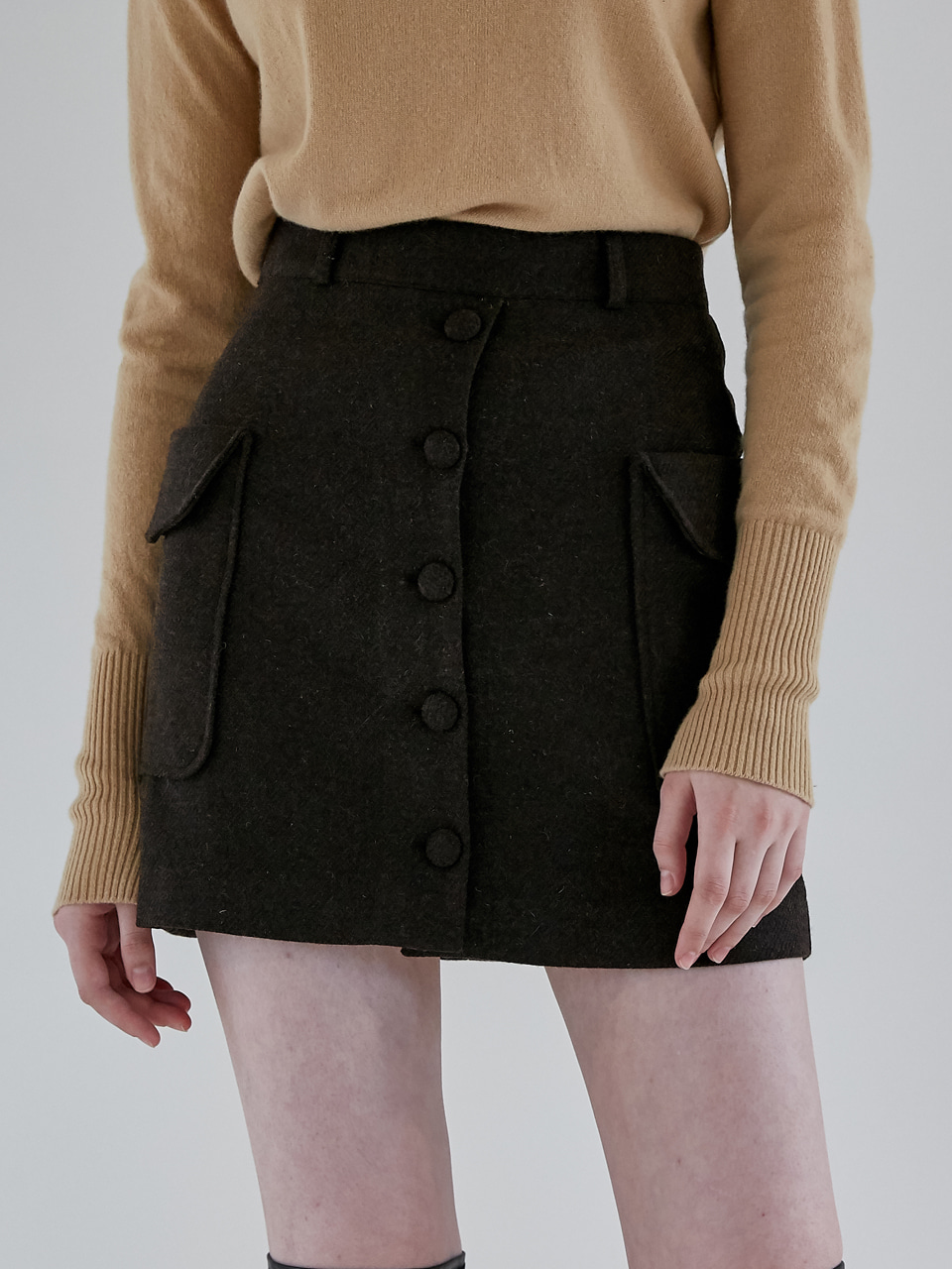 comos'94 two-pocket wool skirt (brown)