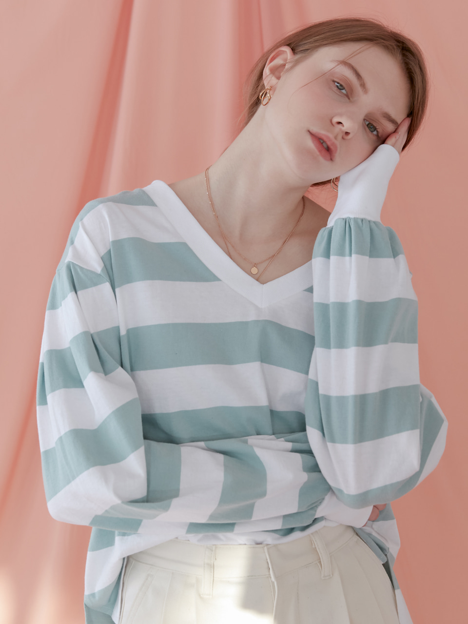 comos'151 stripe v neck (mint)