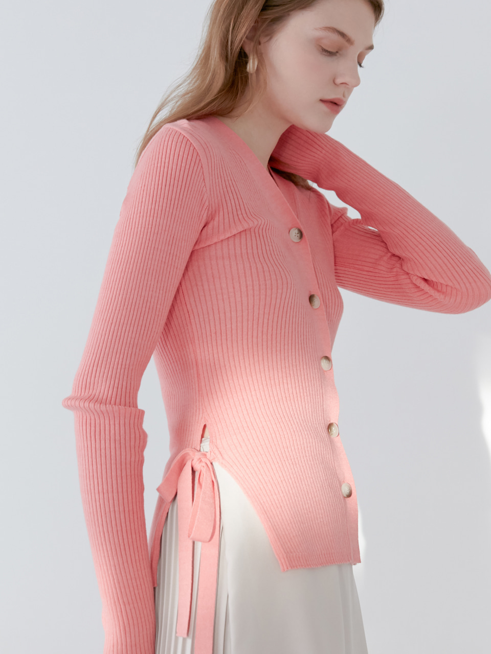 comos'141 ribboned soft knit cardigan (pink)