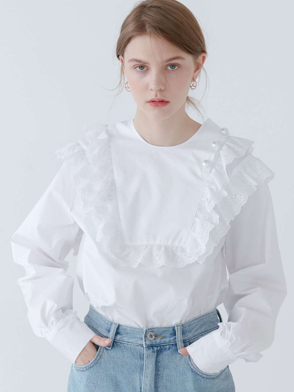 comos'153 lace square blouse (white)