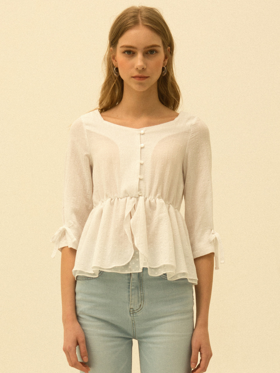 comos'183 square neck flare blouse (white)