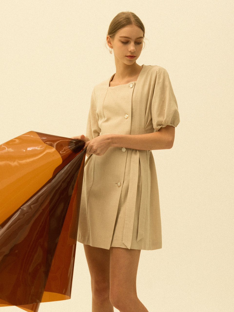 comos'171 square double mini dress (beige)