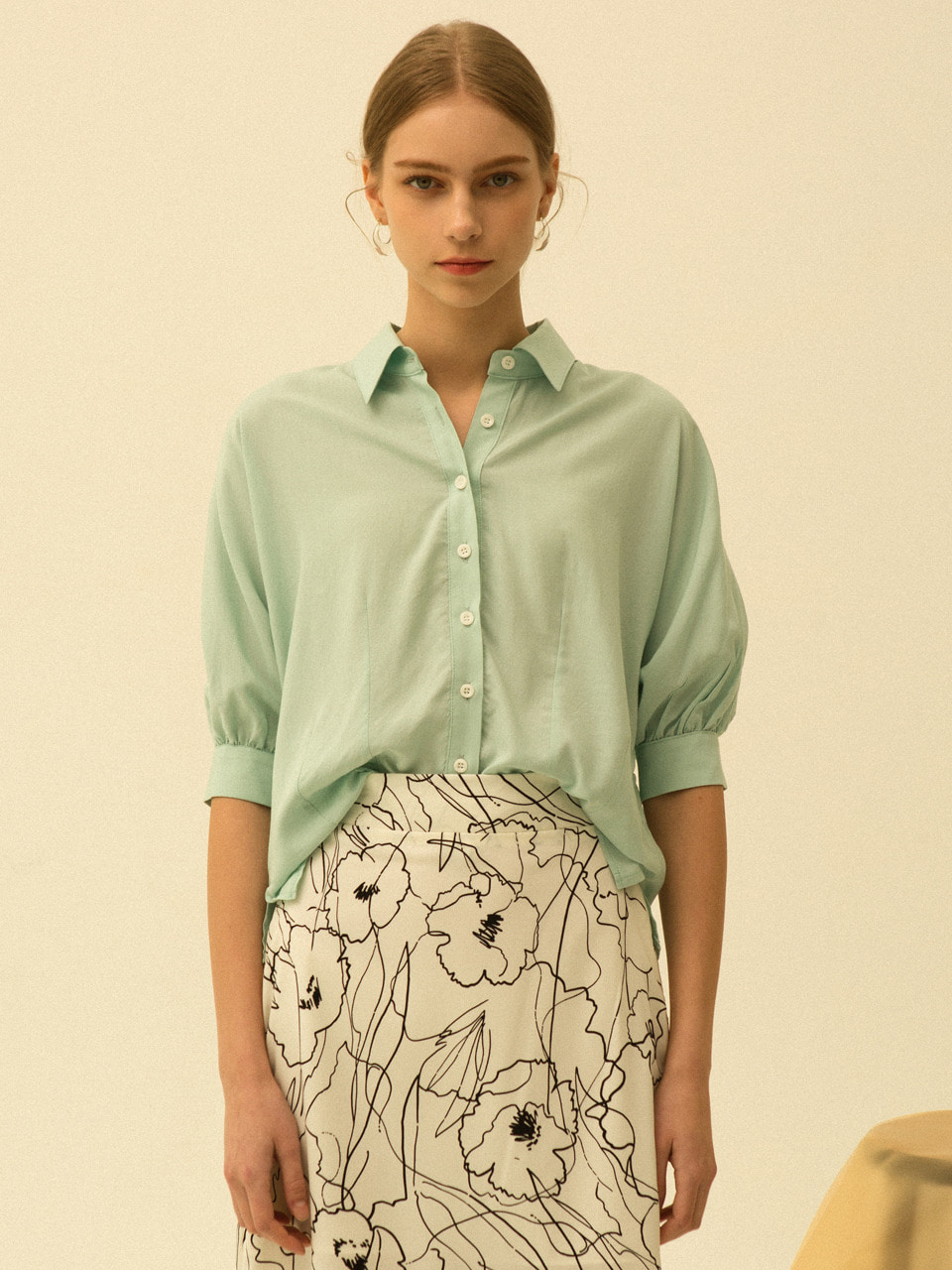 comos'181 3/4 sleeve puff blouse (mint)