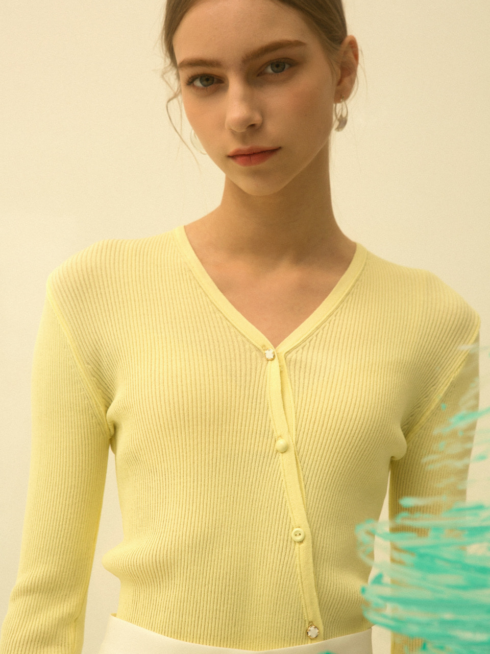 comos'178 diagonal line cardigan (yellow)
