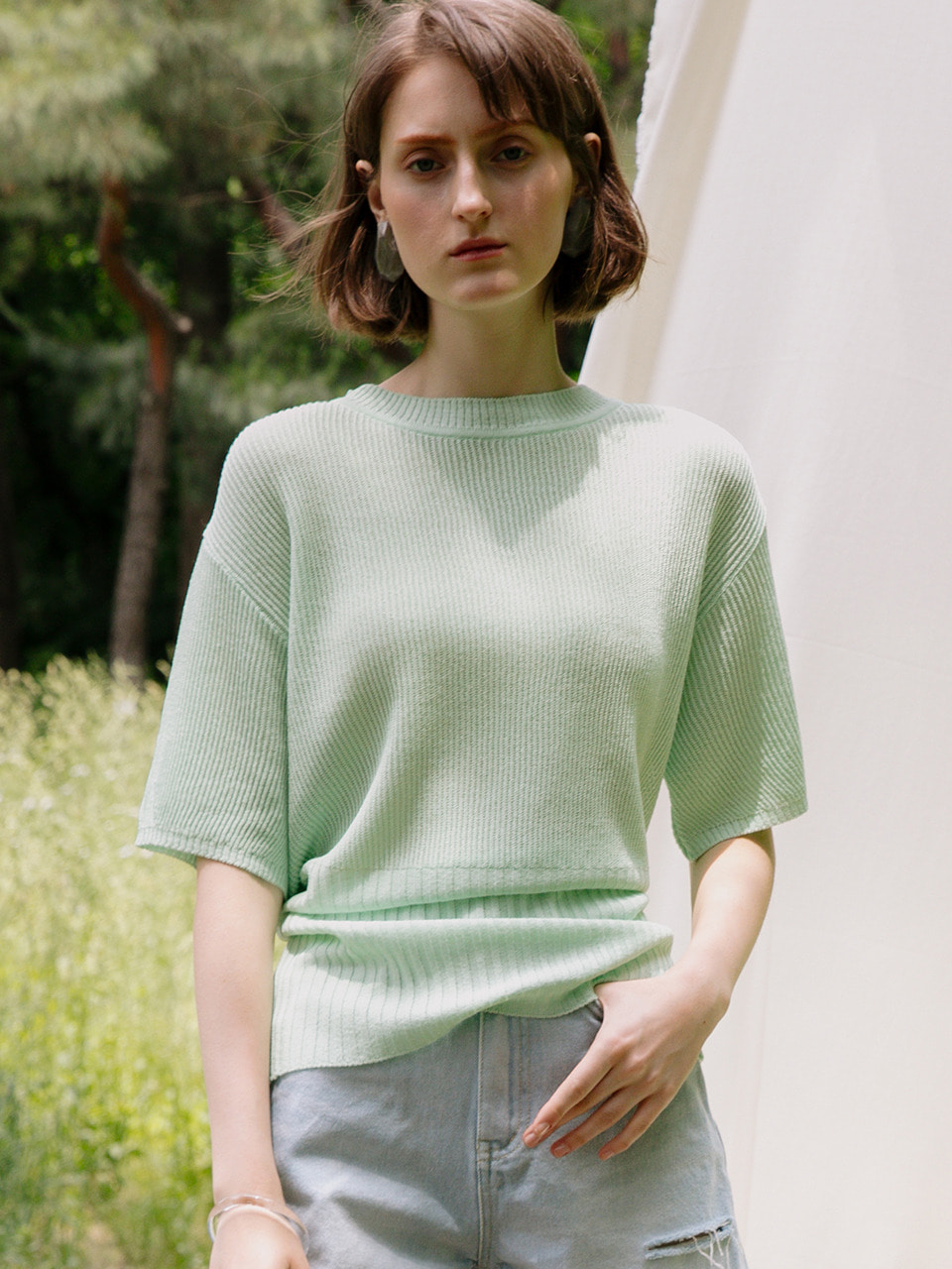 comos'198 back- ribbon puff sleeve knit (mint)