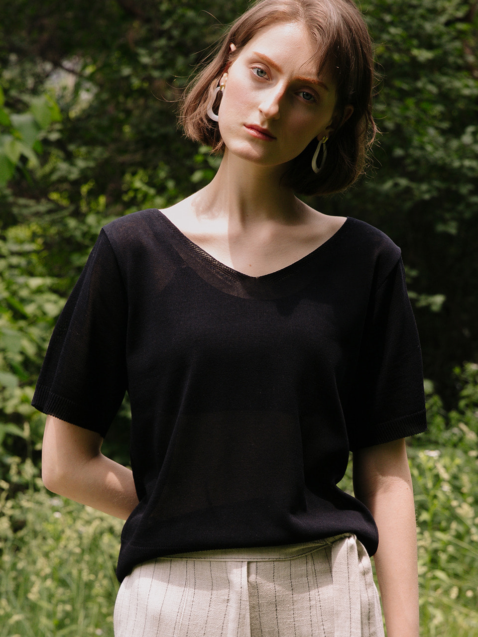 comos'196 v-neck ribbon knit (black)