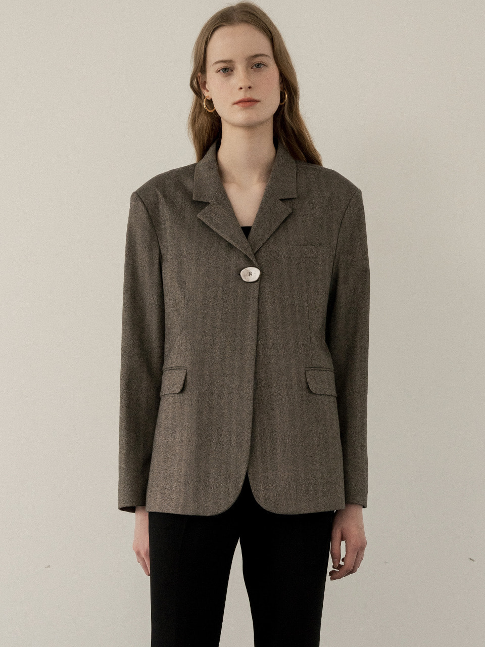 comos'244 point-button single jacket (brown)