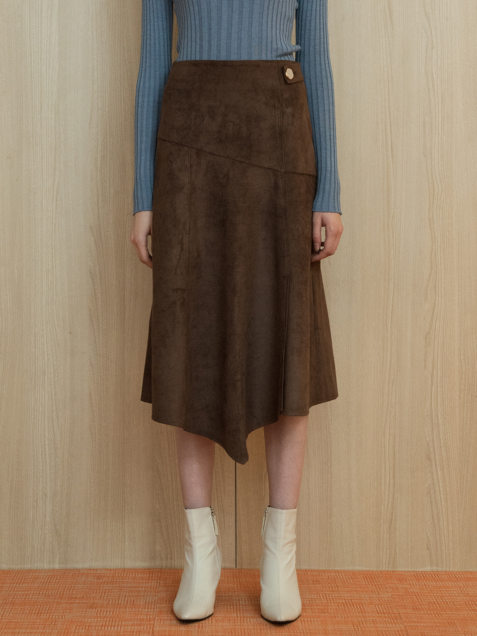 comos'221 suede flared skirt (brown)