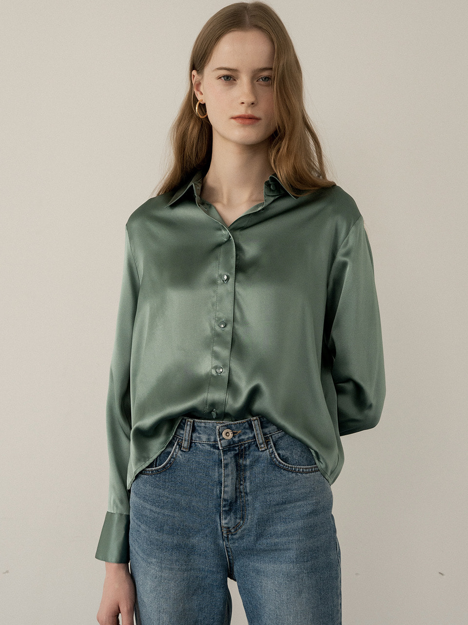 comos'235 silk100% pintuck blouse (green)