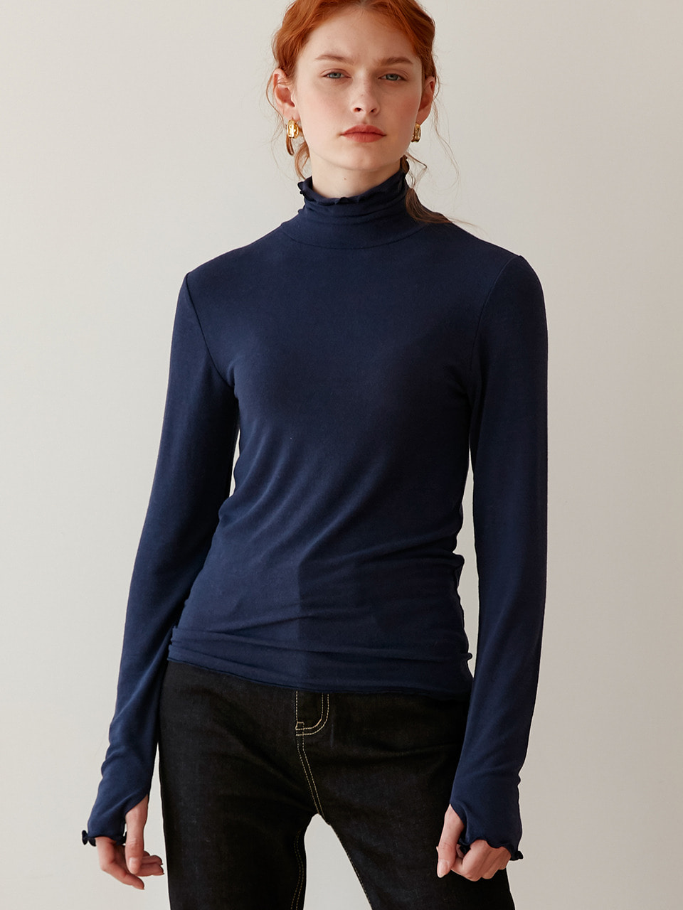 comos'263 slim turtleneck-t (navy)