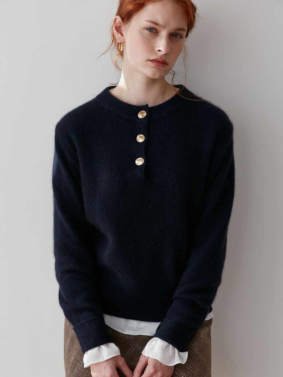 comos'257 henry neck button kint (navy)