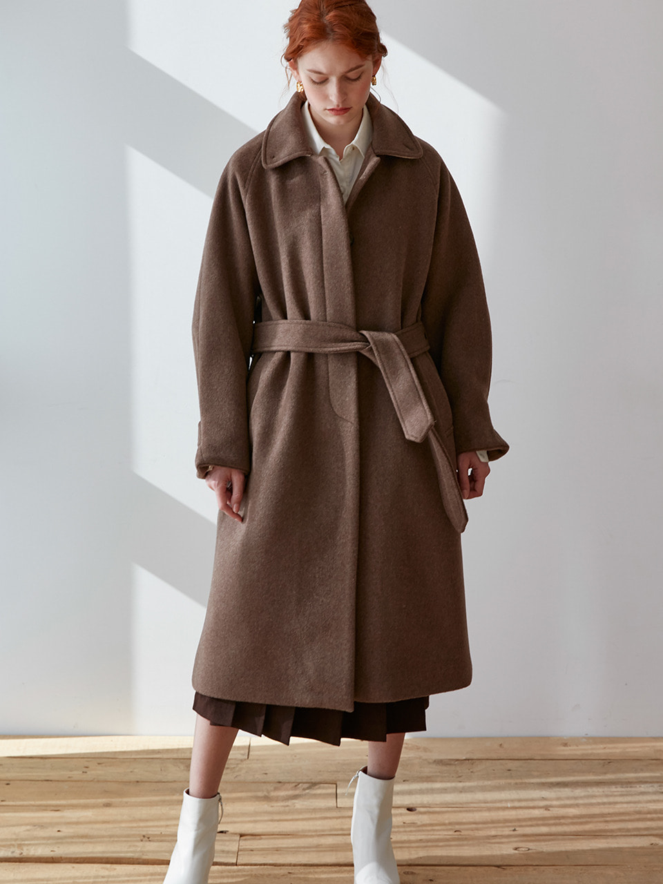 comos'274 raglan single long coat (brown)