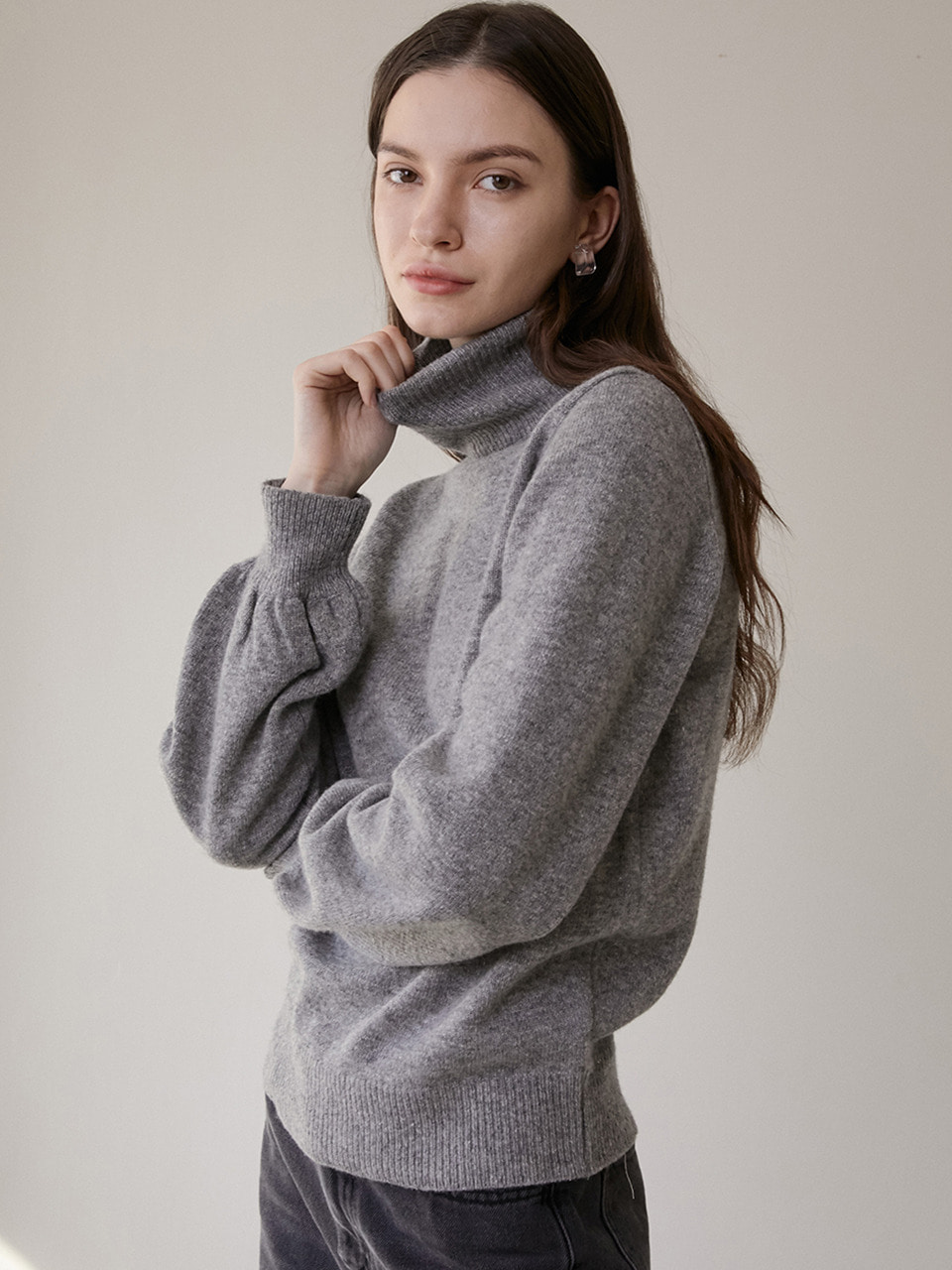 comos'287 cashmere puff turtleneck knit (grey)