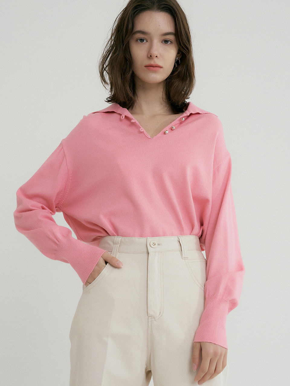 comos'317 v neck shirt collar knit (pink)