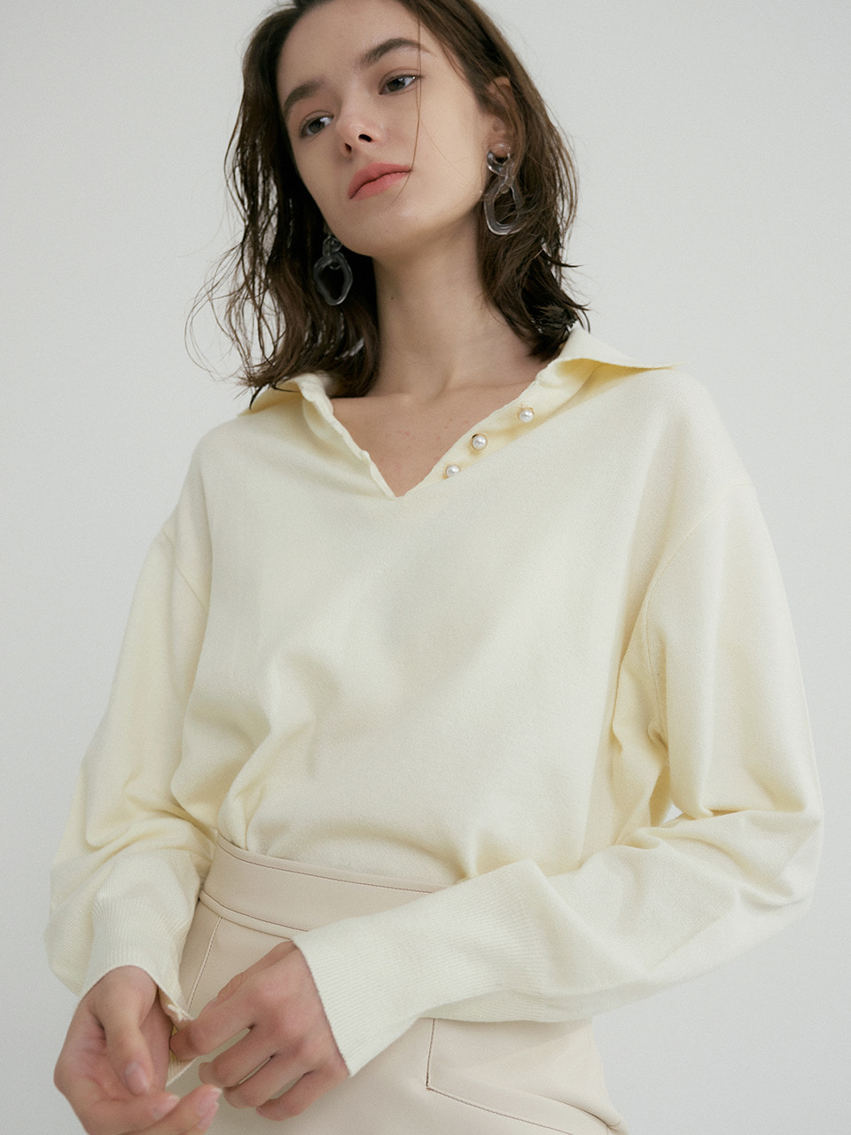 comos'316 v neck shirt collar knit (yellow)