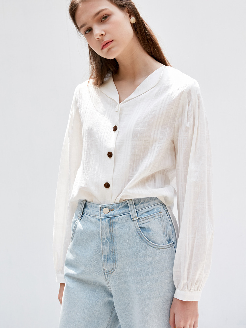 comos'359 check puff blouse (ivory)