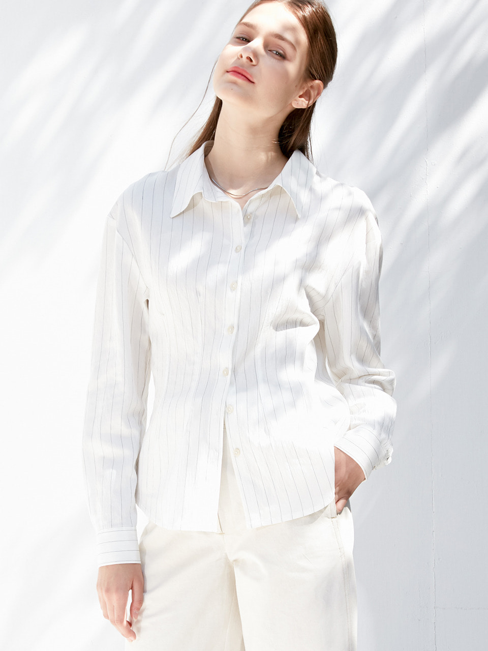 comos'361 slim fit dart blouse (ivory)
