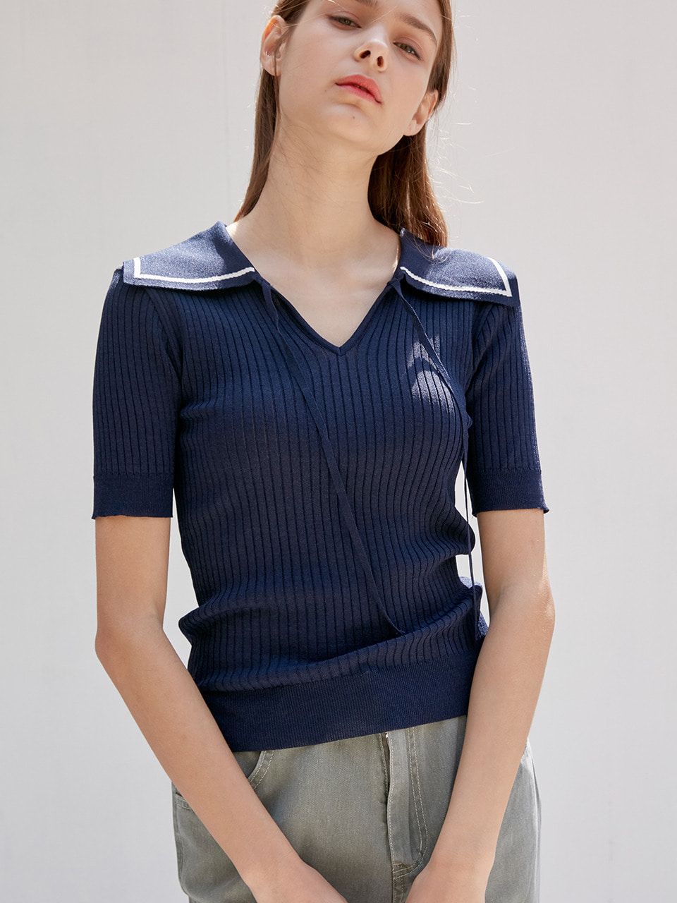 comos'348 v-neck sailor slim knitwear (navy)