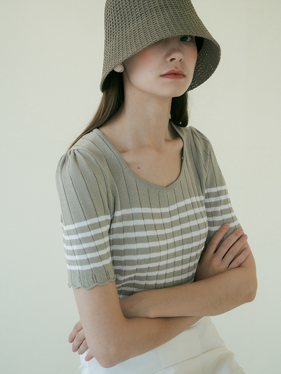 comos'375 stripe square knit (l/khaki)