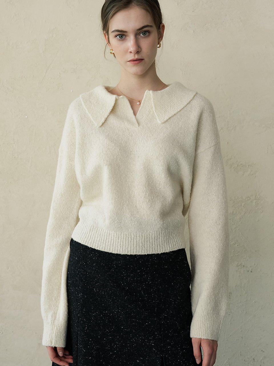comos'433 wool pullover collar knit (ivory)