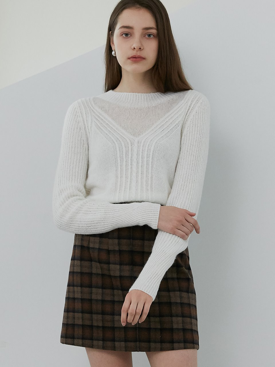 comos'456 mohair see through point knit (ivory)