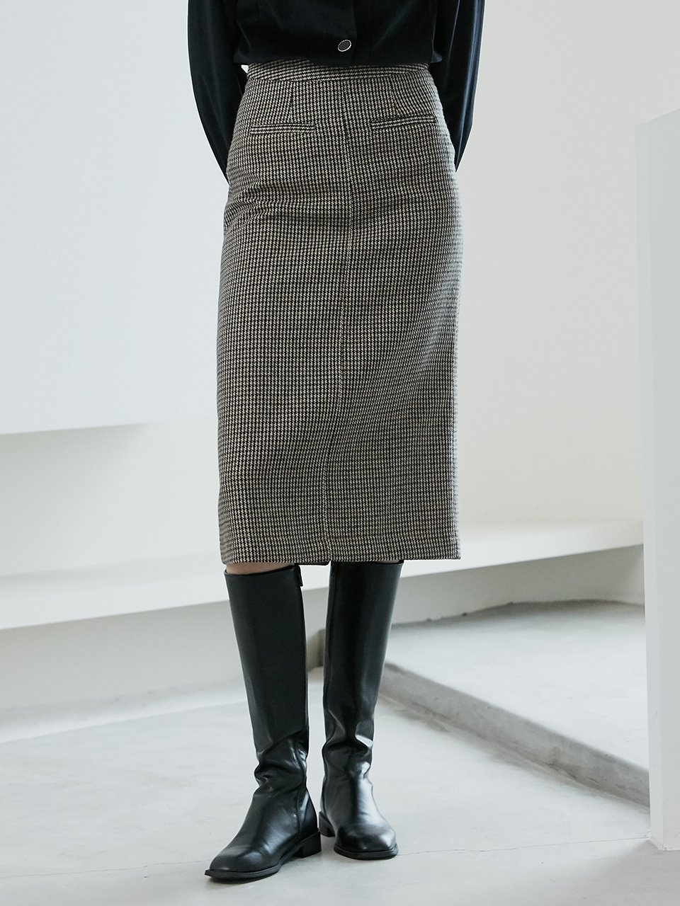 comos'451 H-line wool check skirt (brown)