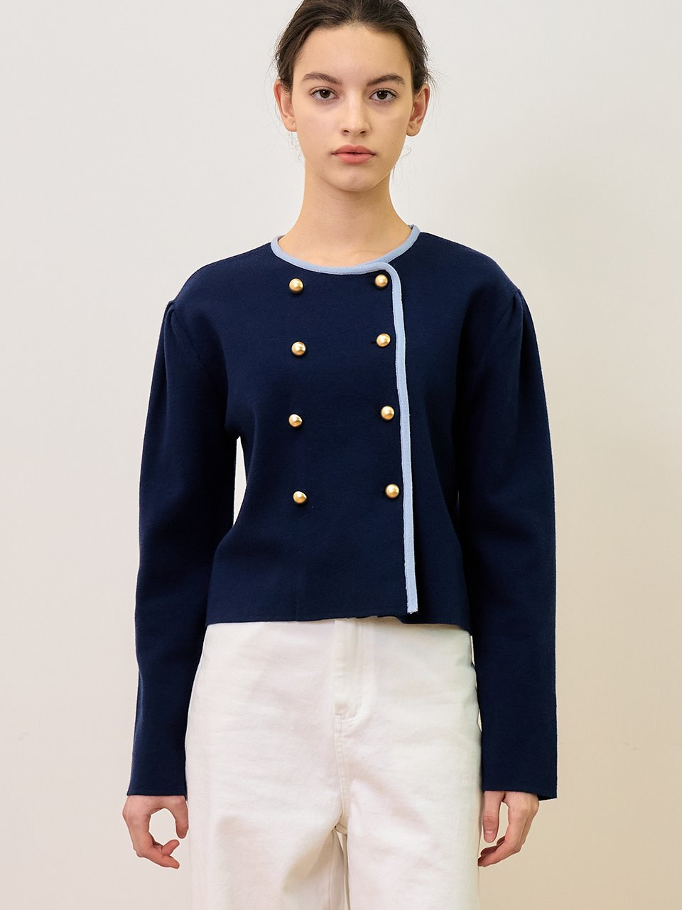 comos'484 Color Point Double Cardigan (navy)