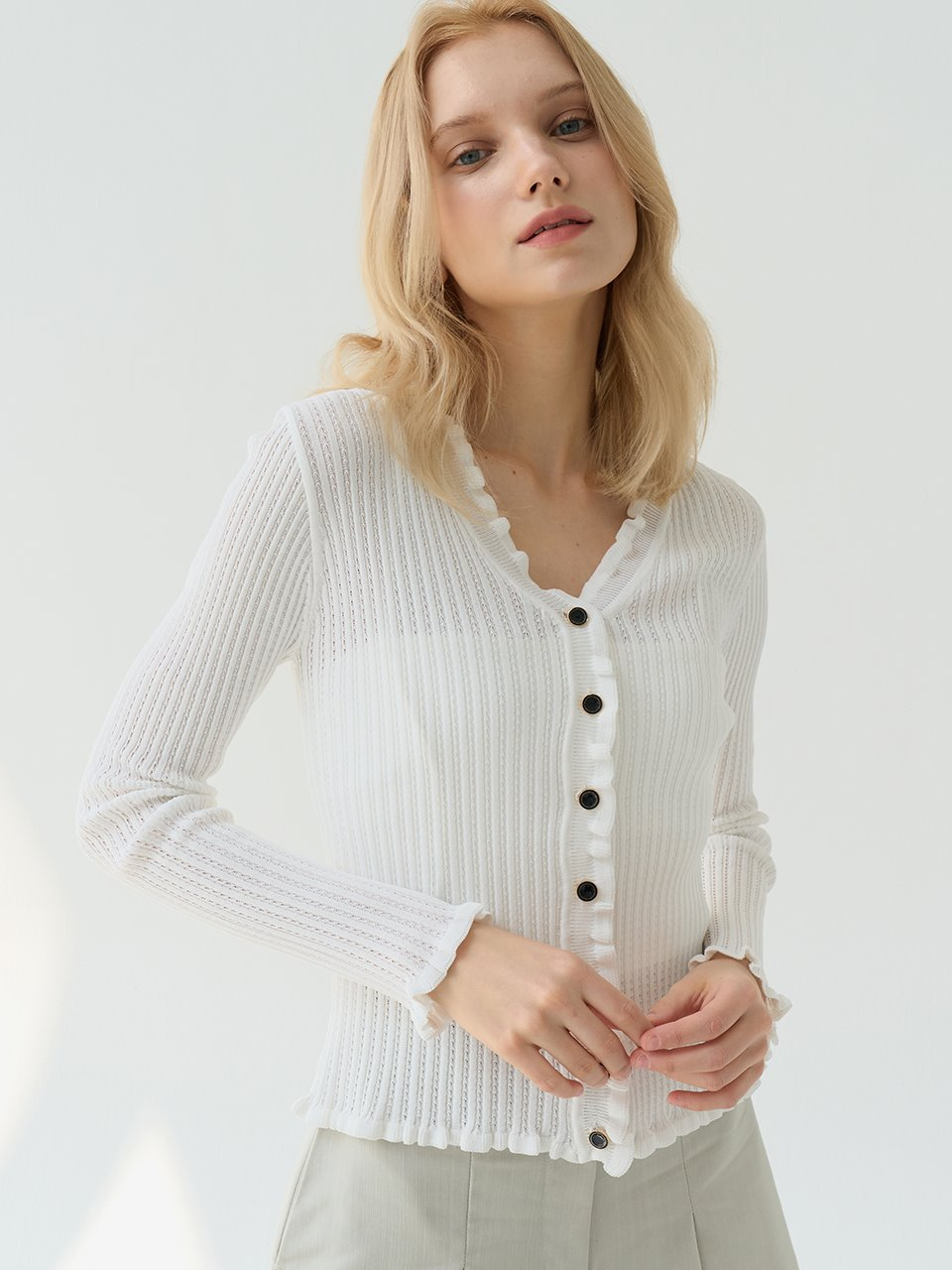 comos'512 See-through Frill Cardigan (White)