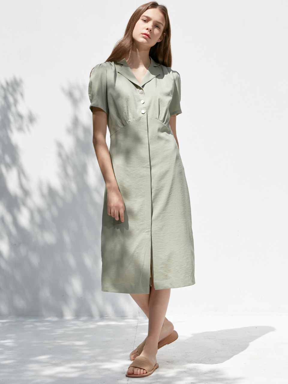 comos'365 pintuck collar long one-piece (light khaki)
