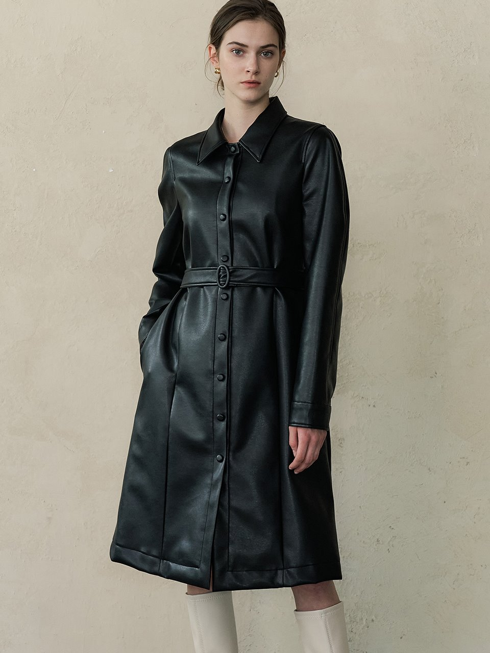 comos'446 leather shirt dress (black)
