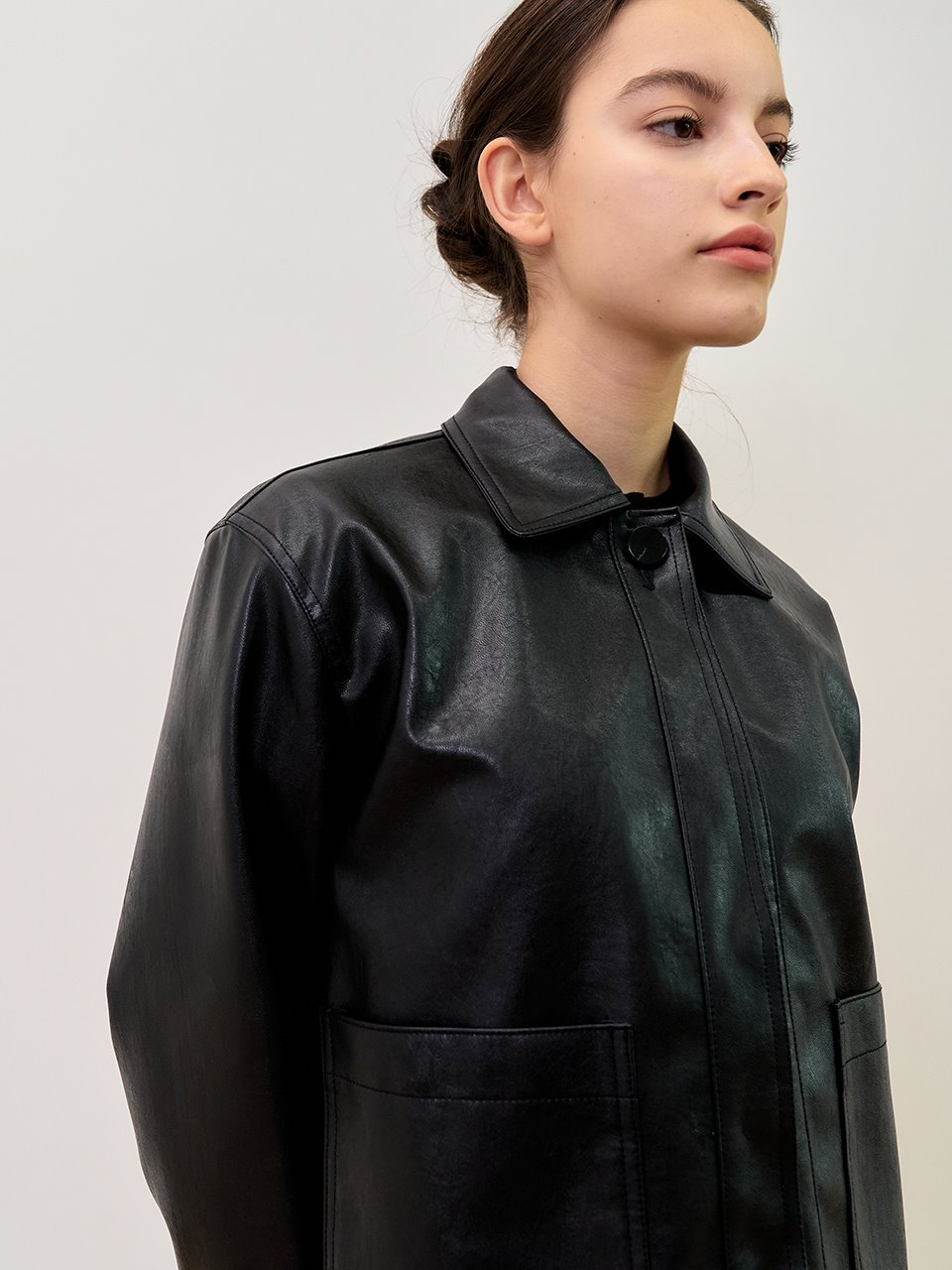comos'243 one-button leather  shot jacket (black)