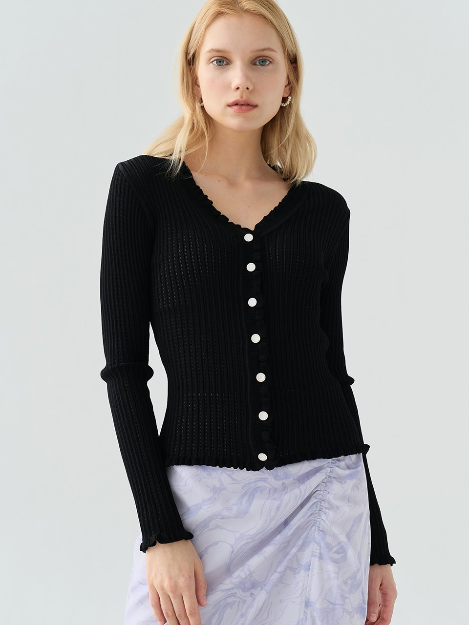 comos'513 See-through Frill Cardigan (Black)