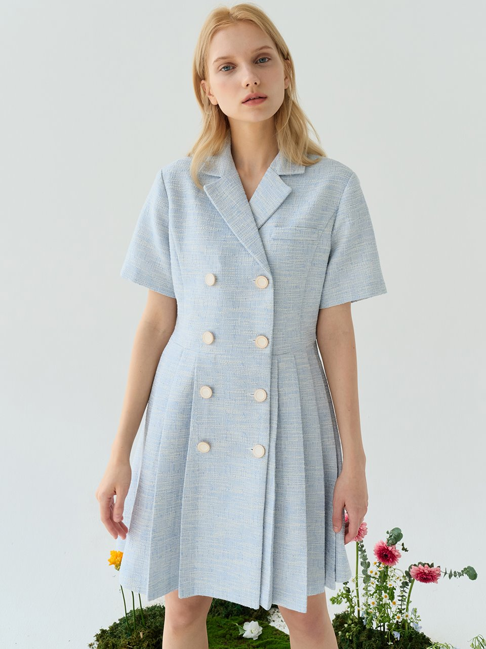 comos'530 Tweed Pleats One-piece (Sky blue)